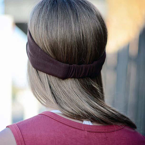 Shoulder Length Straight Hair With Burgundy Headband