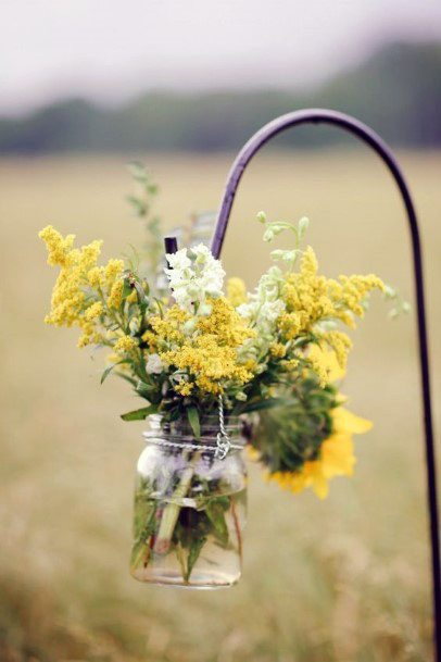 Shpereds Hook And Yellow Flowers Wedding