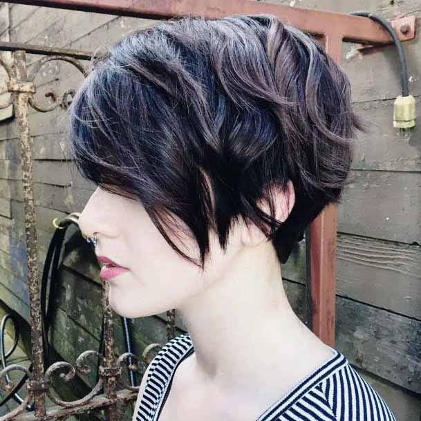 Side Swept Chocolate Toned Pixie Cut For Women