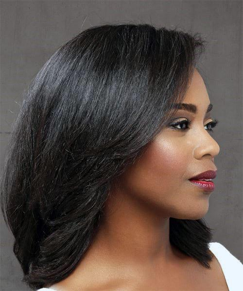 Sideswept Straight Dark Haircut Women