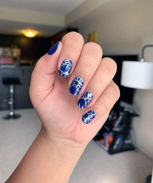 Silver And Royal Blue Water Nails Women