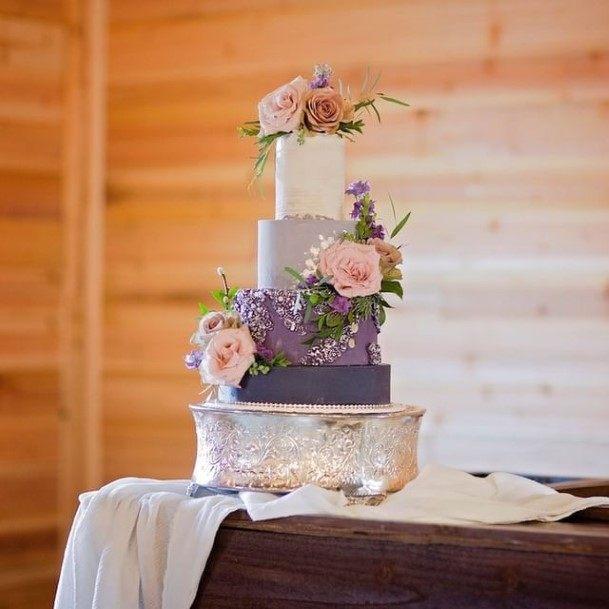 Silver Base Purple Wedding Cake