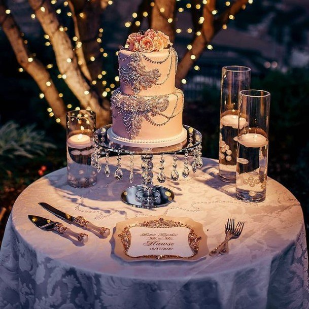 Silver Chains On Wedding Beautiful Cake