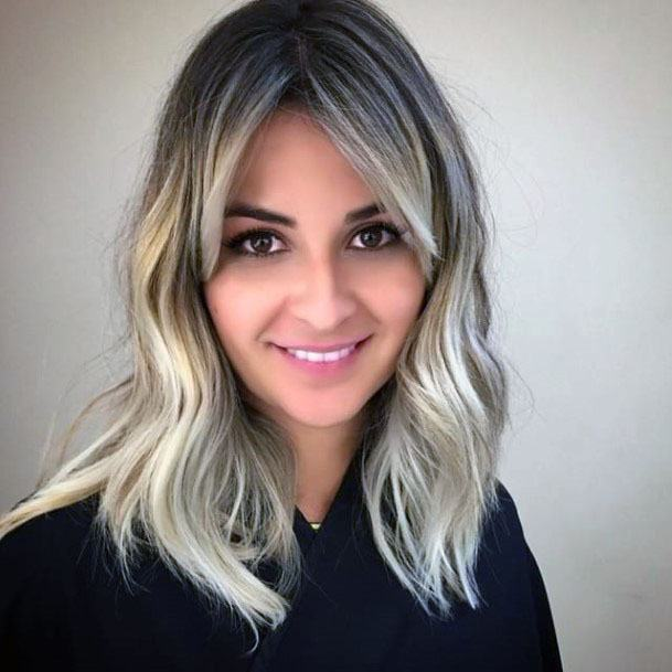Silver Edged Center Part Shoulder Length Hairstyle