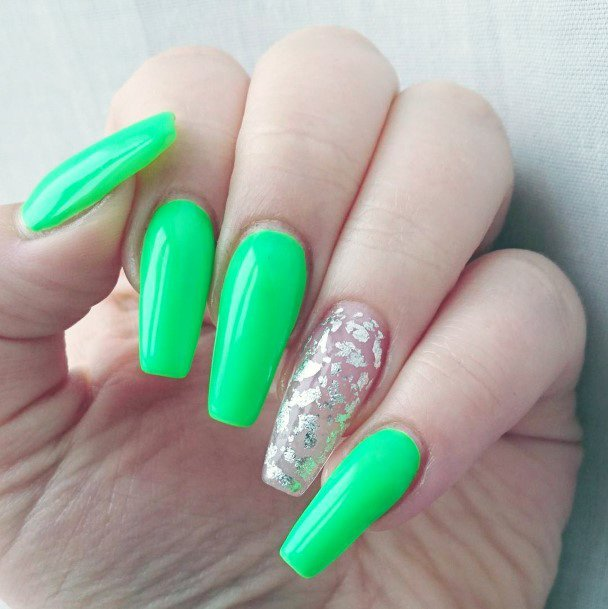 Silver Foil And Neon Green Nails