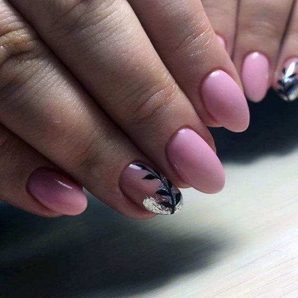 Silver Foil On Pink Nails With Black Leaf Art