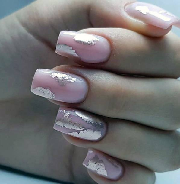 Silver Foils On Coral Pink Nails For Women