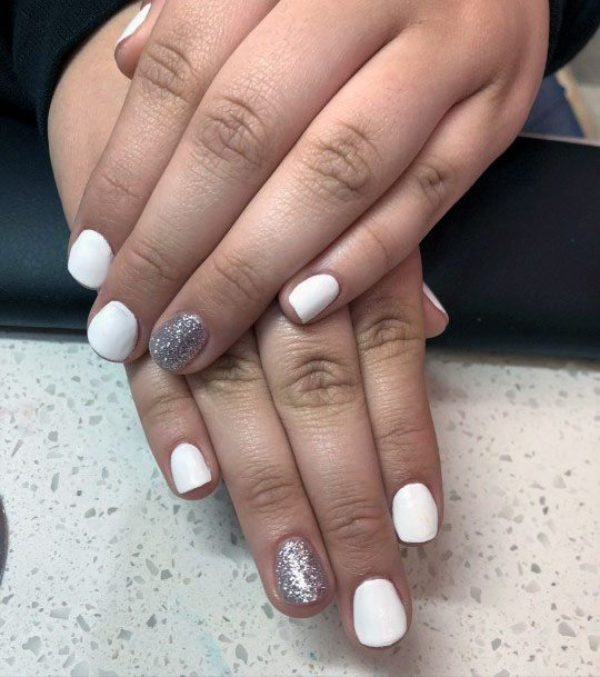 Silver Gleam And White Gel Nail Ideas For Women