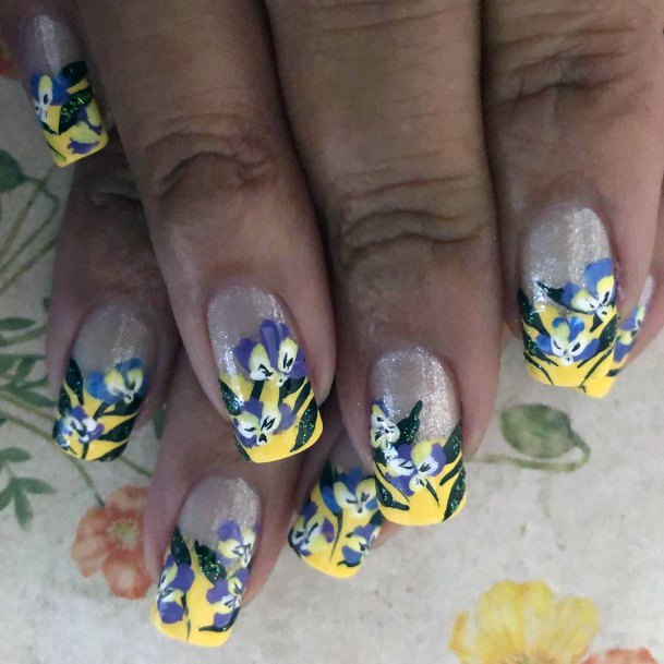 Silver Glitter And Yellow Orchid Nails