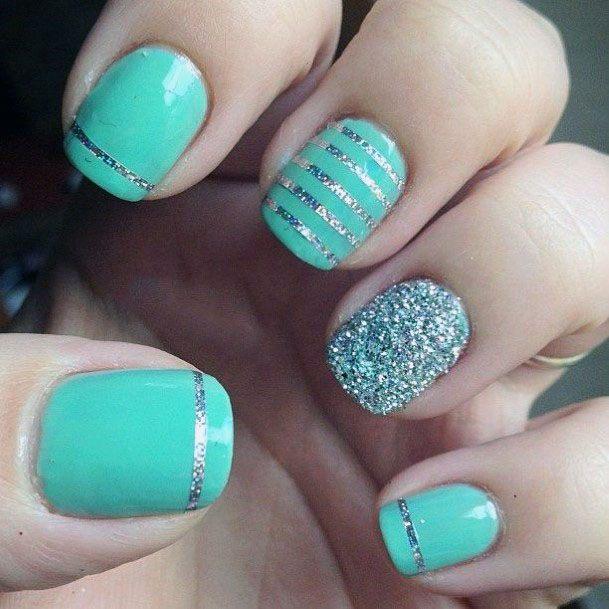 Silver Glitter Designs On Mint Nails Women