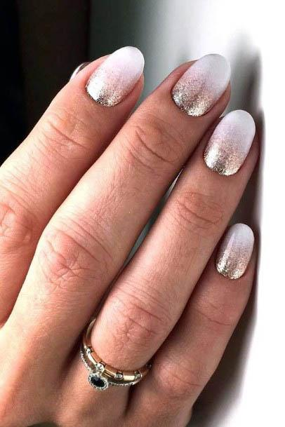Silver Glitter On White Ombre Nails Women