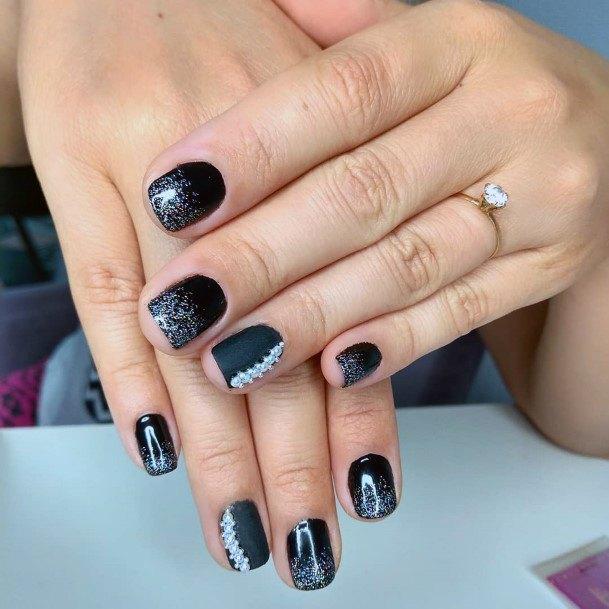 Silver Glitter Work On Black Nails Women