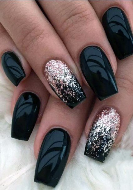 Silver Glitters On Black Nails Women