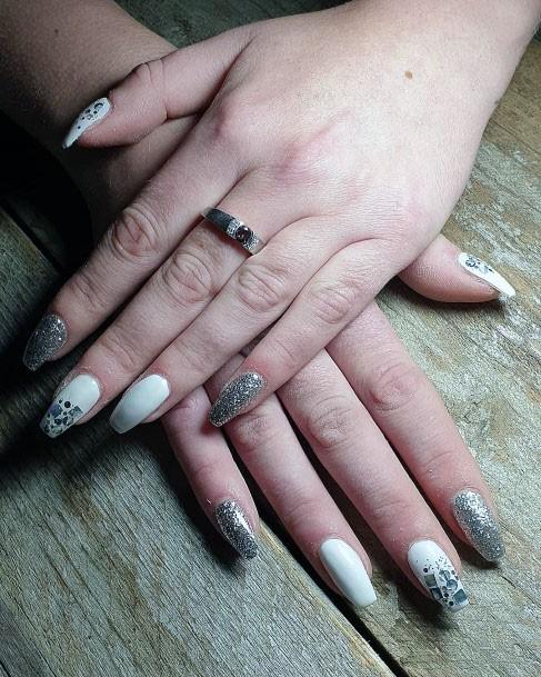 Silver Glitters On White Gel Nail Women