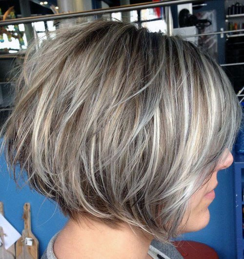 Silver Gray Casual Short Haircut Women