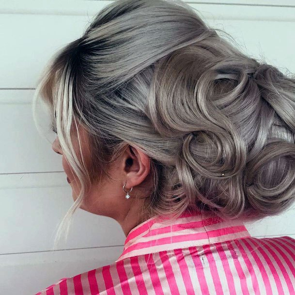 Silver Haired Chignon With Ringlets Hairstyle Women