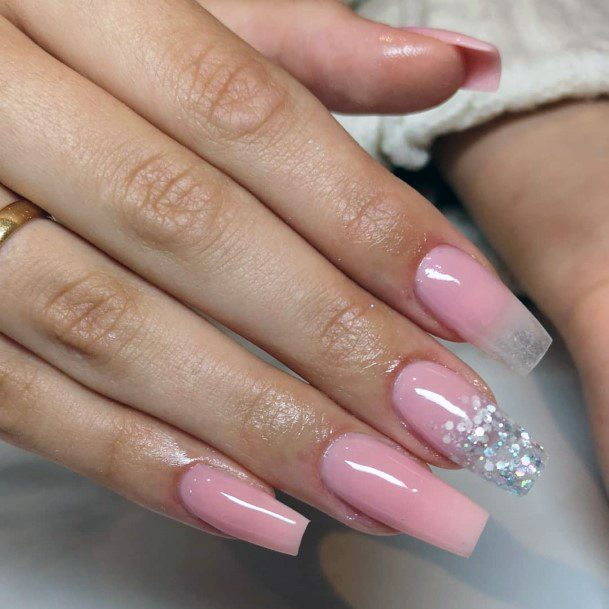 Silver Sparkles Natural Nail Ideas For Women