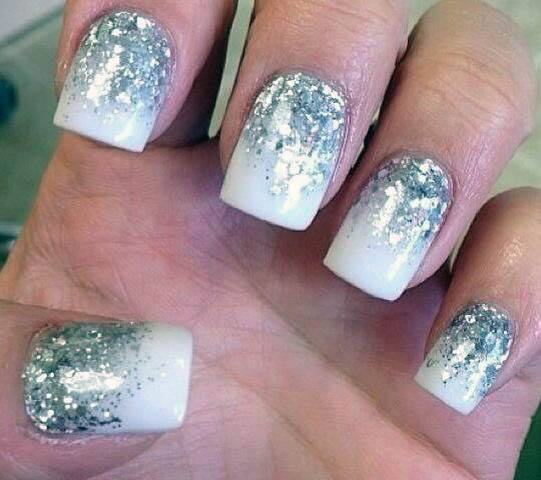 Silver Sparkles On White Ombre Nails Women