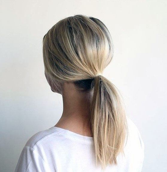 Silver Straight Low Ponytail Hairstyle Women
