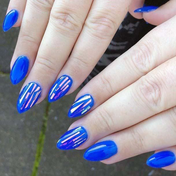 Silver Streaks On Bright Blue Nails For Women