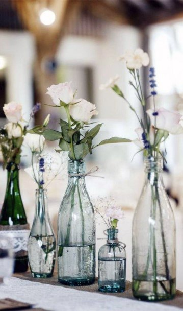 Simple And Classic White Roses In Jars Wedding Centerpiece Ideas