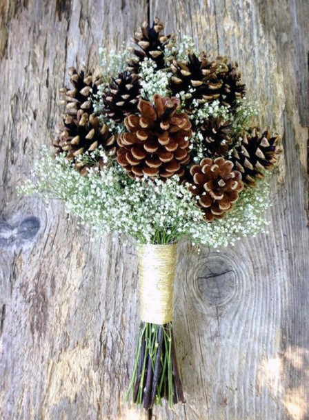 Simple And Cute Pine Cone And Babies Breath Bouquet Inspiration