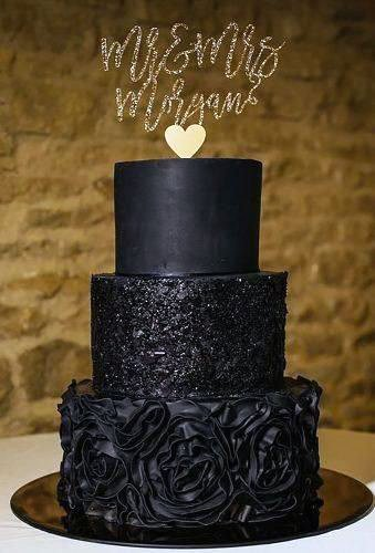 Simple And Elegant Black Tiered With Gold Topper Wedding Cake Ideas