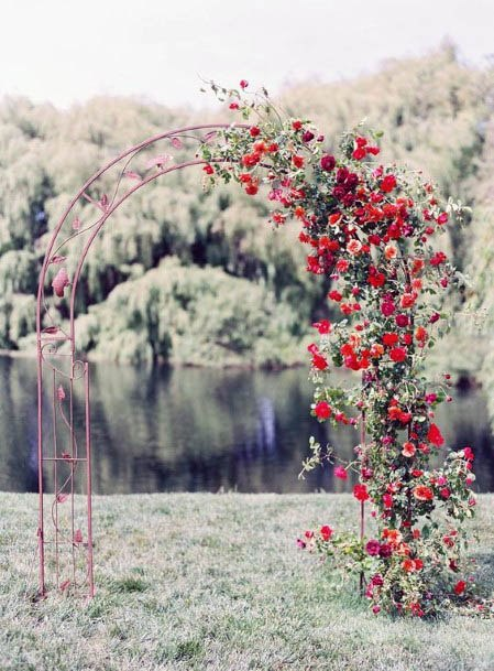 Simple Arch With Red Flowers Wedding