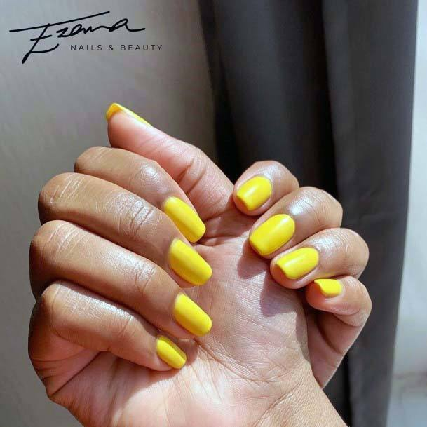 Simple Bright Yellow Nails For Women
