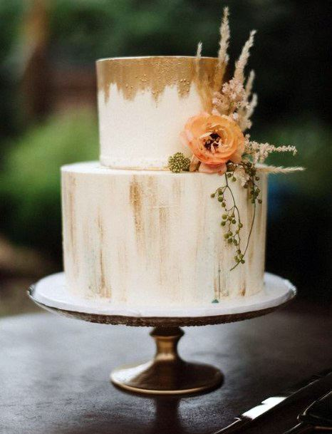 Simple Gold And White Wedding Cake