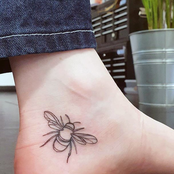 Simple Honey Bee Tattoo For Women