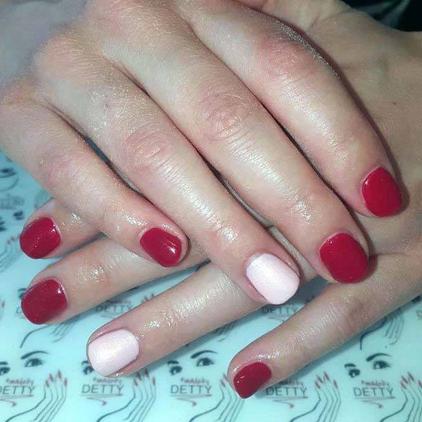 Simple Rose Pink Accent And Red Nails For Women