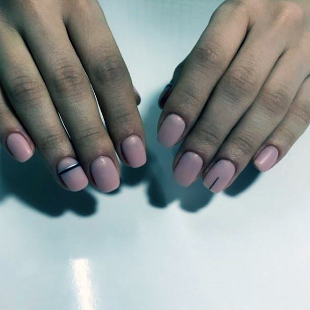 Simple Rosy Pink Naked Shellac Nails With Black Lines Art For Women