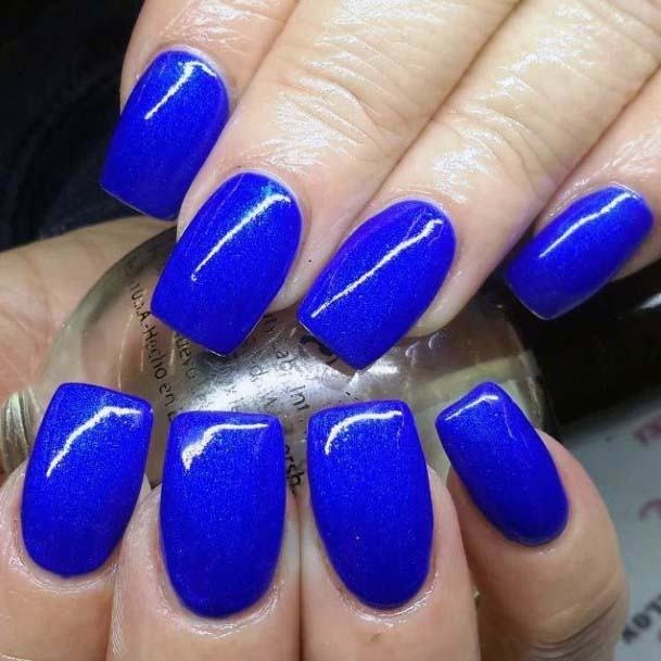 Simple Royal Blue Nail Color Bright For Women