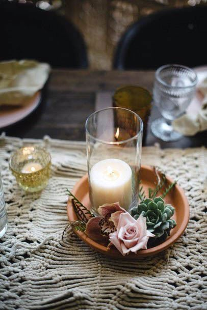 Simple Rustic Wedding Flowers And Candles