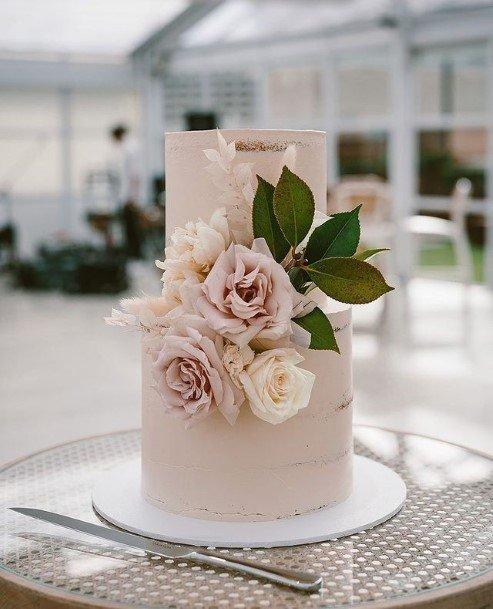 Simple Two Level Beautiful Wedding Rose Cake