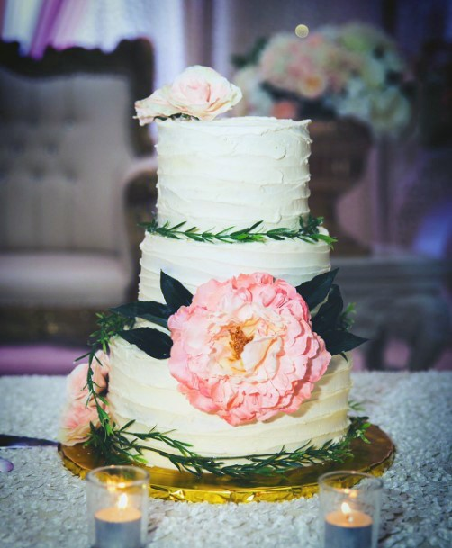 Simple White Cream Cheese Frosting With Large Icing Flower Design Wedding Cake Ideas