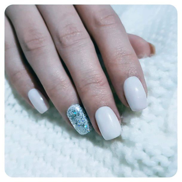 Simple White Nails With Snow Glitters For Women