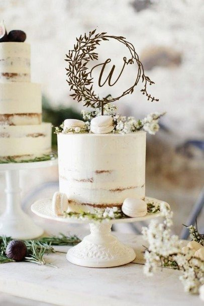 Simple White Rustic Wedding Cake Toppers