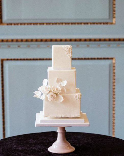 Simple White Square Wedding Cake