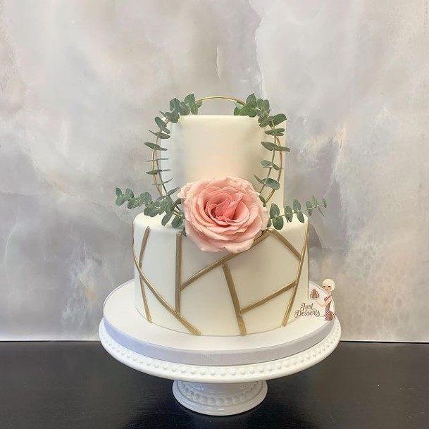 Single Rose On 2 Tier Wedding Cake