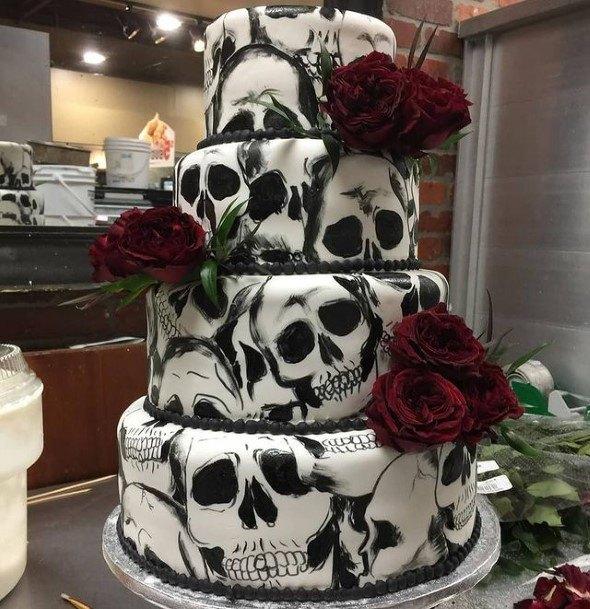 Skull Effect Halloween Wedding Cakes