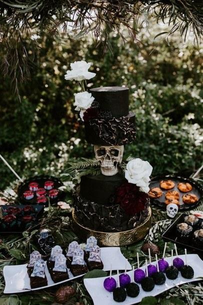 Skull Halloween Black Wedding Cake