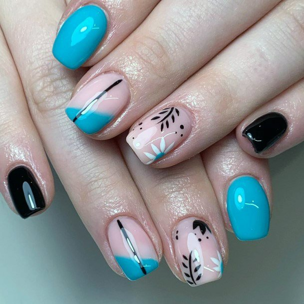 Sky Blue And Nude Tropical Nails Women