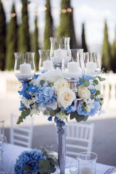 Sky Blue And White Hydrangea Wedding Flowers