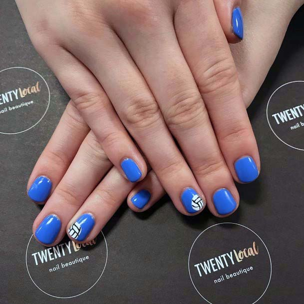 Sky Blue Sport Nails With Accent For Women