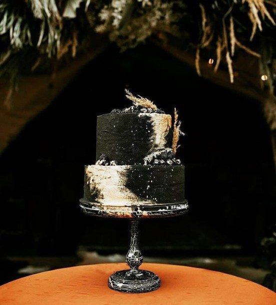 Sleek Black And White 2 Tier Wedding Cake