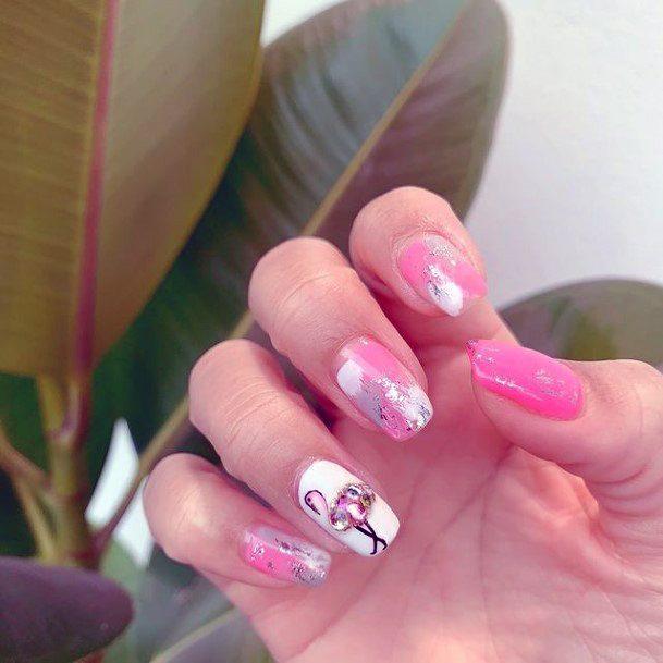 Sleek Flamingo Pink And White Nails Women Art
