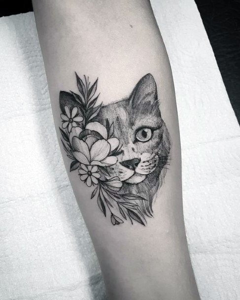 Sly Cat With Flowers Tattoo For Women