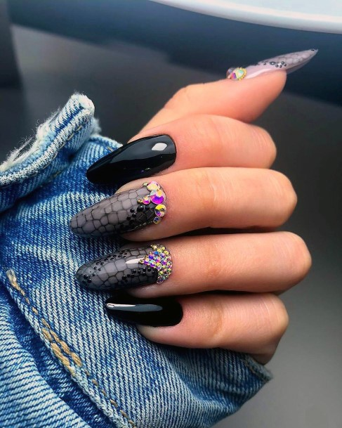 Slytherin Black Snake Effect On Nails With Colored Stones Women